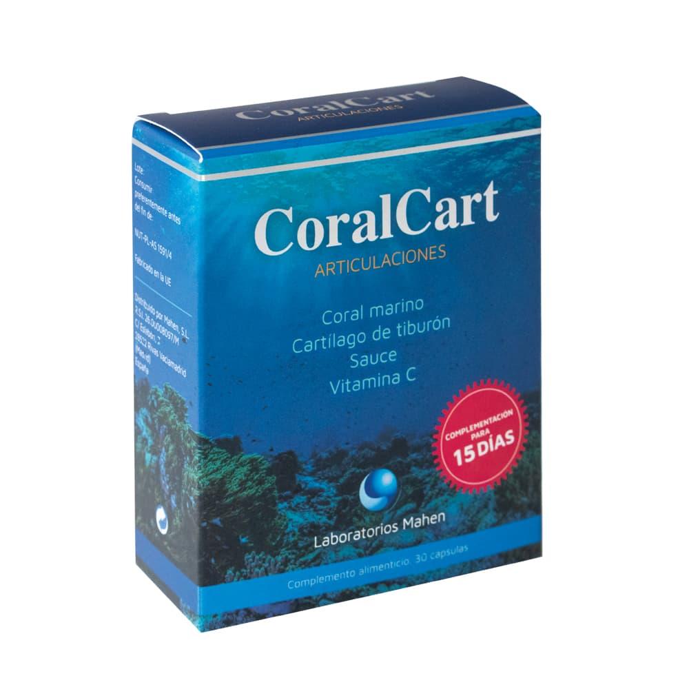 Coralcart 30 cápsulas con cartílago de tiburón y coral marino aporta una cantidad extra de calcio y ayuda a tus huesos y articulaciones.
